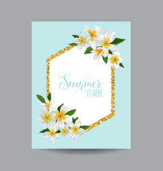 hello summer tropical card with plumeria flowers vector image