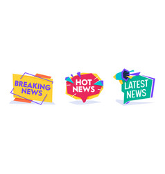 Hot news world breaking reportage banner template vector