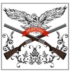 Hunting emblem eagle decorative tape gun vector image