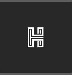 identity emblem letter h logo monogram old style vector image