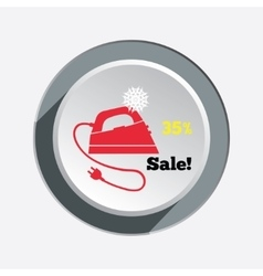 Iron christmas sale button with shadow Electric vector