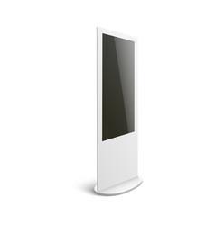 Isolated mockup white interactive digital kiosk vector