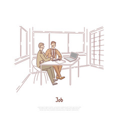 Job interview employer and candidate discussing vector