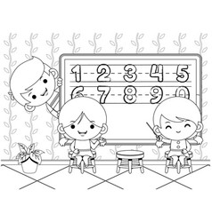 Kids teaching and learning number coloring book vector