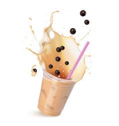 Light brown cream bubble tea with milk and black vector