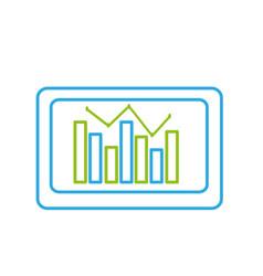 Line computer with statistics diagram bar vector