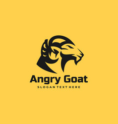 Logo angry goat silhouette style vector