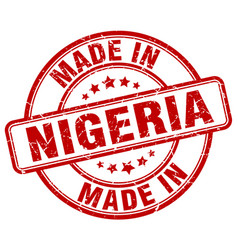 Made in nigeria red grunge round stamp vector