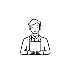 Man with electronic tablet hand drawn sketch icon vector