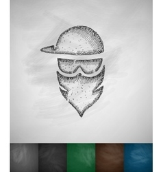 Masked man icon vector