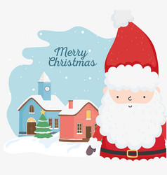 merry christmas celebration cute santa tree town vector image