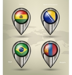metal map marker steel with glare and shadows vector image