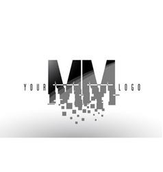 Mm m m pixel letter logo with digital shattered vector