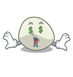 Money eye mozzarella cheese isolated on mascot vector