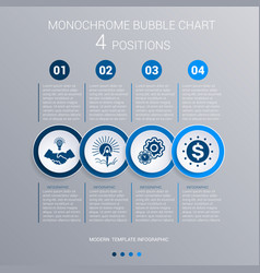 monochrome blue bubbles chart infographics for 4 vector image