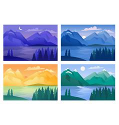 Mountain landscape set vector