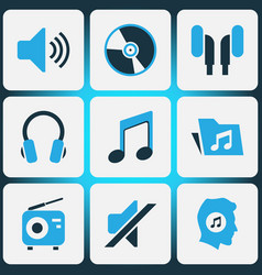 Multimedia colored icons set collection of music vector