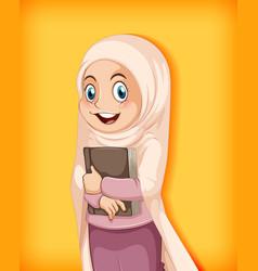 muslim girl holding book vector image