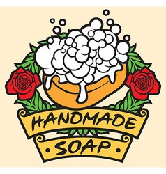natural handmade soap label handmade soap with vector image