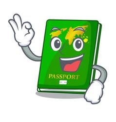 Okay green passport in the cartoon shape vector