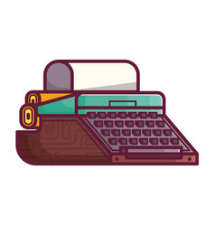 Old typewriter or writing machine icon vector