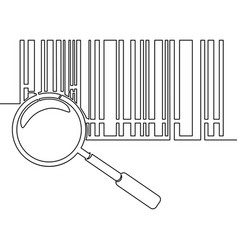 one line bar code with magnifying glass concept vector image