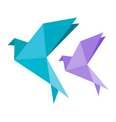 origami dove bird blue and vilotet icon geometric vector image