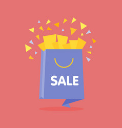 Origami style flat open sale bag with confetti vector