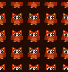 owl stylized art seemless pattern brown orange vector image