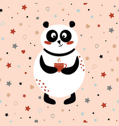 panda drinking tea or coffee cute card template vector image