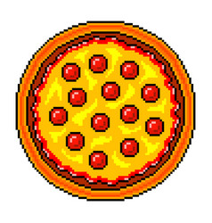 Pixel pizza top view detailed isolated vector
