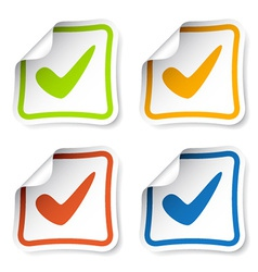 positive checkmark stickers vector image