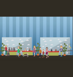 purebred pet exhibition flat vector image