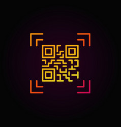 Qr code scanning colorful outline icon or vector