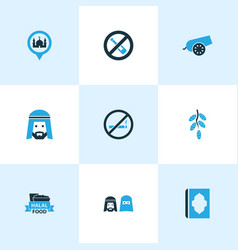 Religion icons colored set with muslim mosque vector