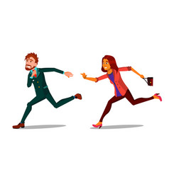 rush running characters young man and woman vector image