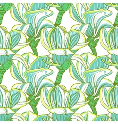 Seamless floral pattern with magnolia blossom vector image