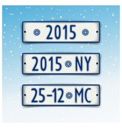 Set Christmas and New year 2015 signboards vector image