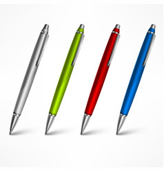 Set expensive pens on white vector