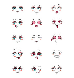 set people with emotions collection facial vector image