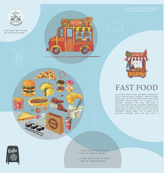 sketch fast food template vector image