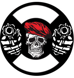 Skull army with gun hand drawing vector