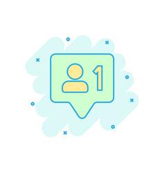 Social media notification sign icon in comic vector