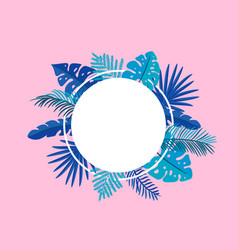 summer floral frame tropical leaves palm vector image