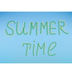 Summer time with flowers and sky vector image