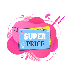 Super price shopping bag with text banner vector