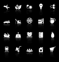 Supply chain and logistic icons with reflect on vector