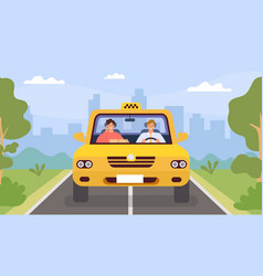 taxi driver and client man drive car vector image