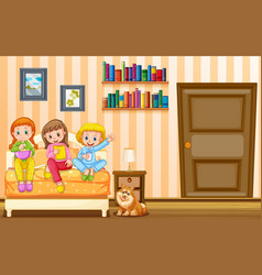 Three girls and pet dog in bedroom vector