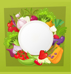 Vegetables top view frame farmers market menu vector